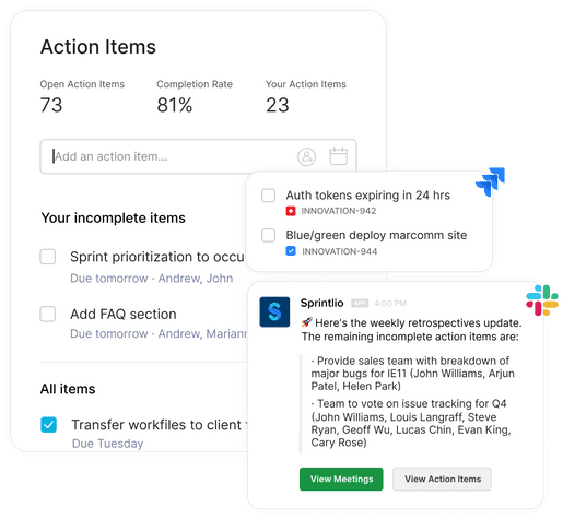Sprintlio agile retrospectives action items, analytics, jira integration, and slack integration